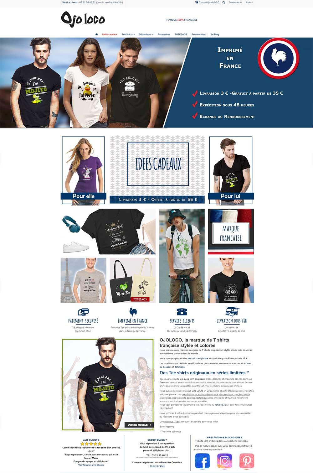 Création de site internet pour vente de vêtements
