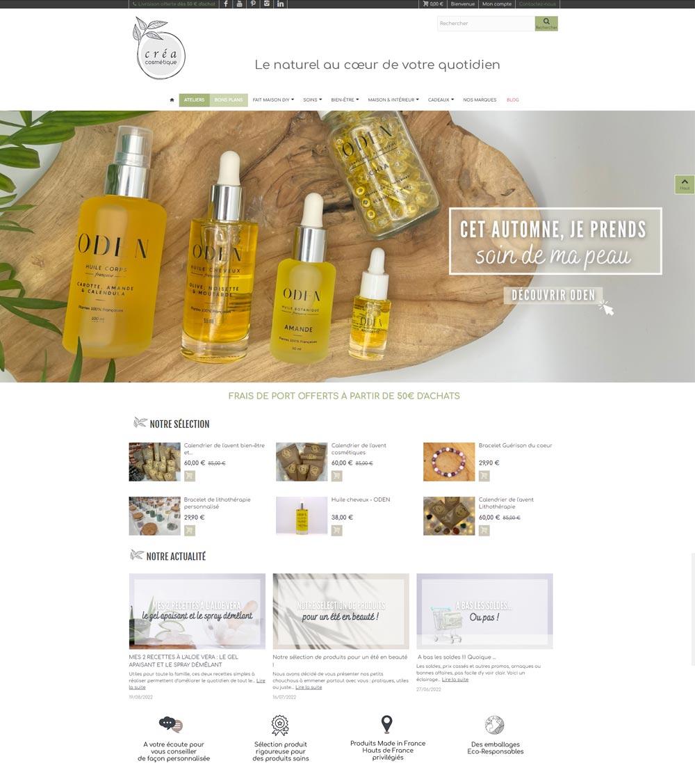 Création de site Ecommerce de cosmétiques bio et naturels