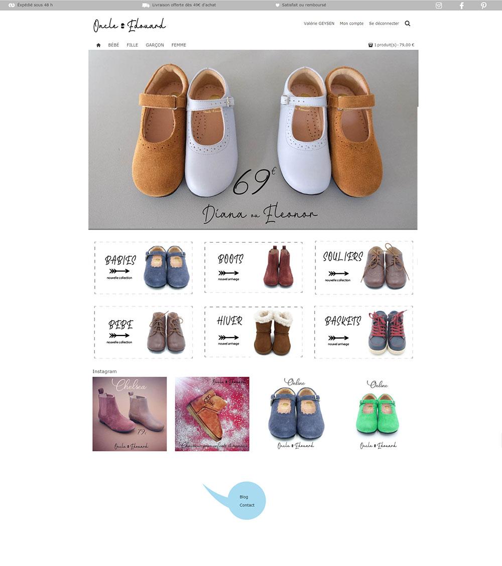 Création de boutique en ligne pour un marchand de chaussures