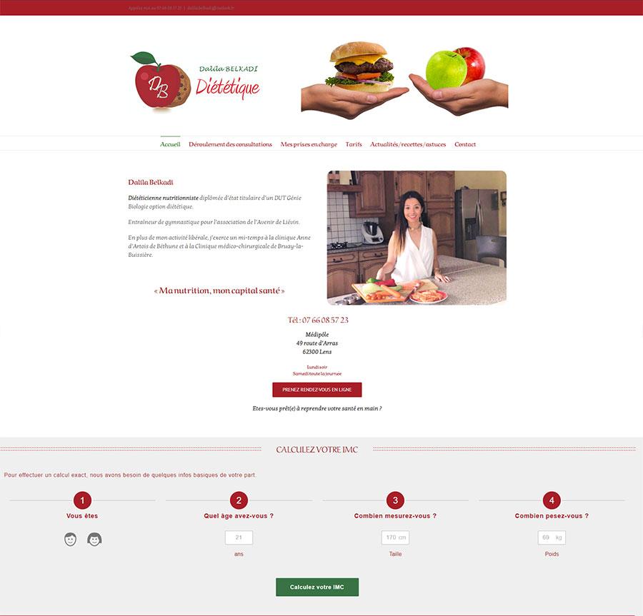 création de site internet diététicienne nutritionniste à Arras Lens Douai Lille