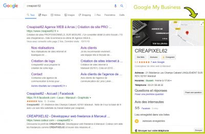 Fiche Google My business agence web Arras
